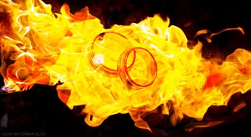 wedding rings in fire