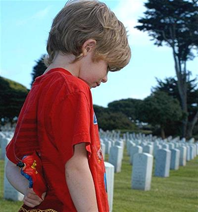 bigstock child in cemetery with flag 681787