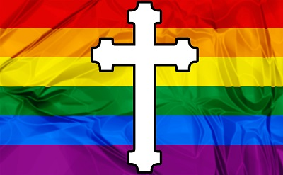 symbol of cross and rainbow flag 400 247