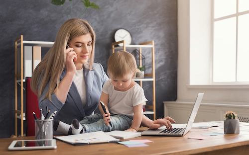 bigstock happy mother working at office 234351961